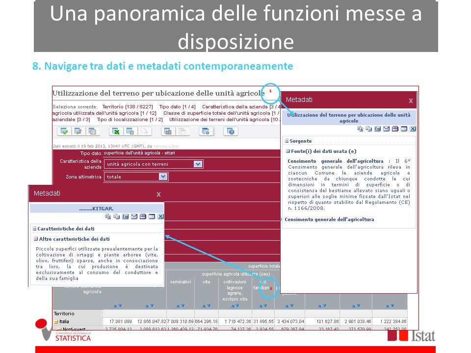 Una panoramica delle funzioni messe a disposizione 8. Navigare tra dati e metadati contemporaneamente