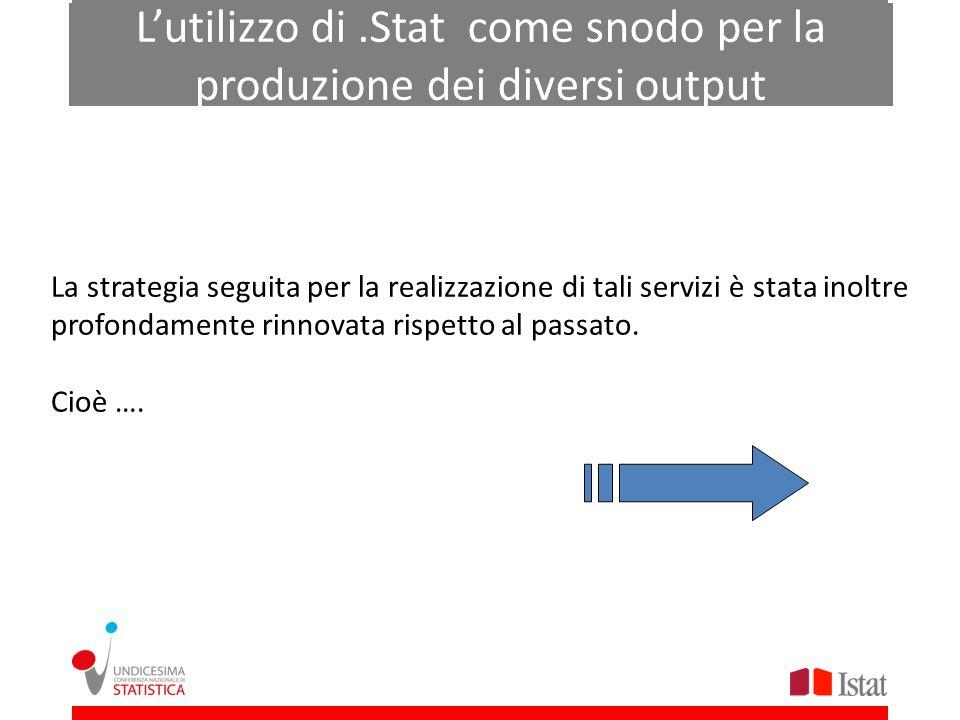 Lutilizzo di.Stat come snodo per la produzione dei diversi output La strategia seguita per la realizzazione di tali servizi è stata inoltre profondame