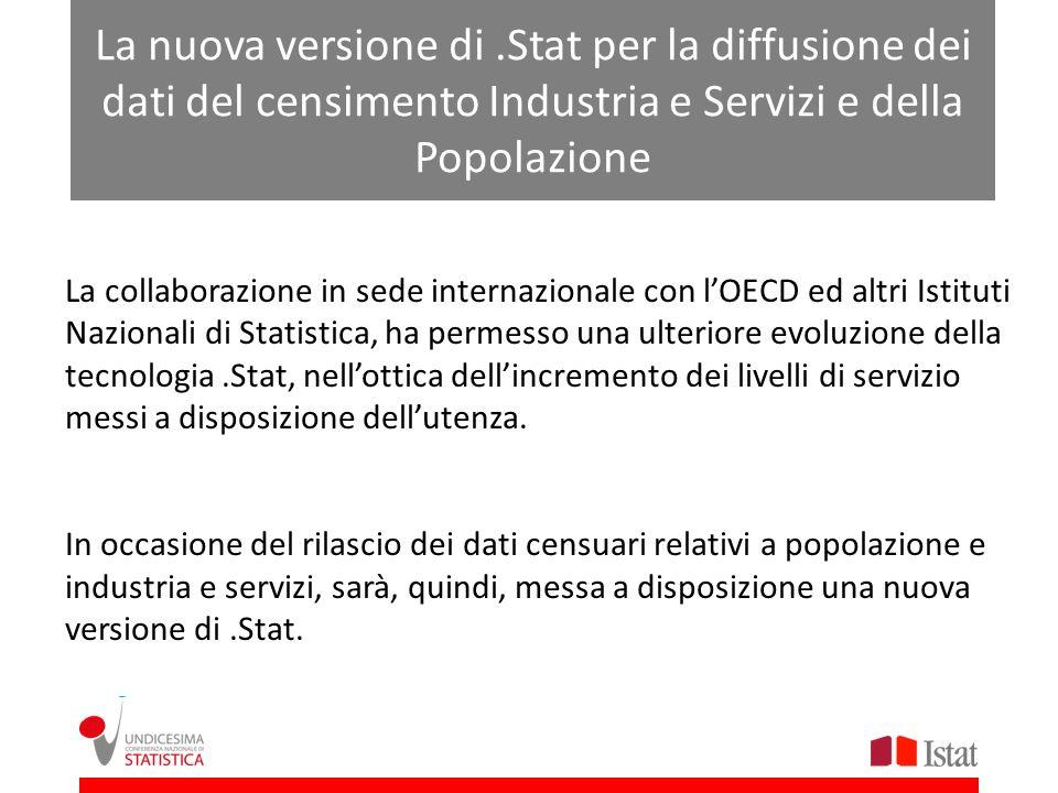 La nuova versione di.Stat per la diffusione dei dati del censimento Industria e Servizi e della Popolazione La collaborazione in sede internazionale c