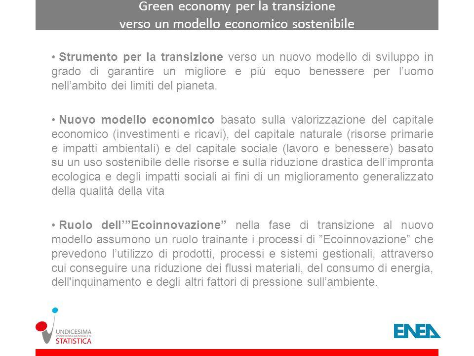 Green economy per la transizione verso un modello economico sostenibile Strumento per la transizione verso un nuovo modello di sviluppo in grado di ga