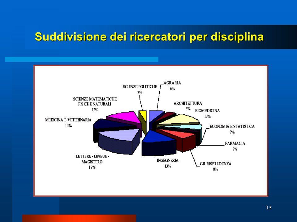 13 Suddivisione dei ricercatori per disciplina