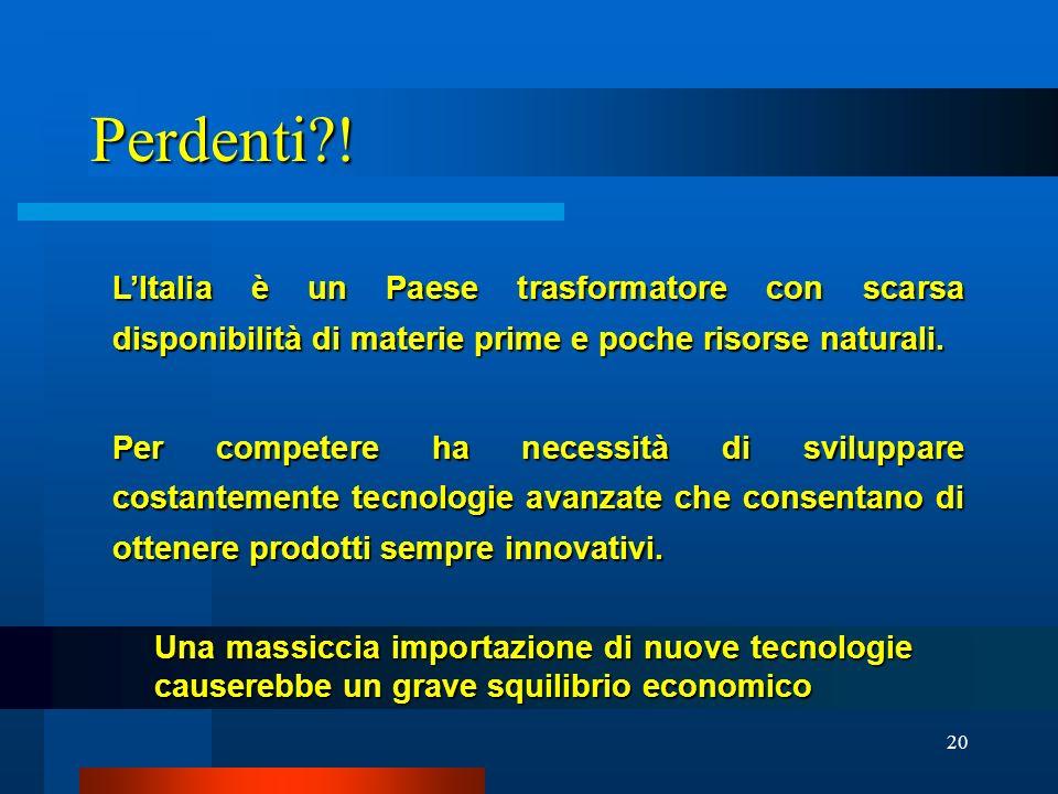20 Perdenti?! LItalia è un Paese trasformatore con scarsa disponibilità di materie prime e poche risorse naturali. Per competere ha necessità di svilu