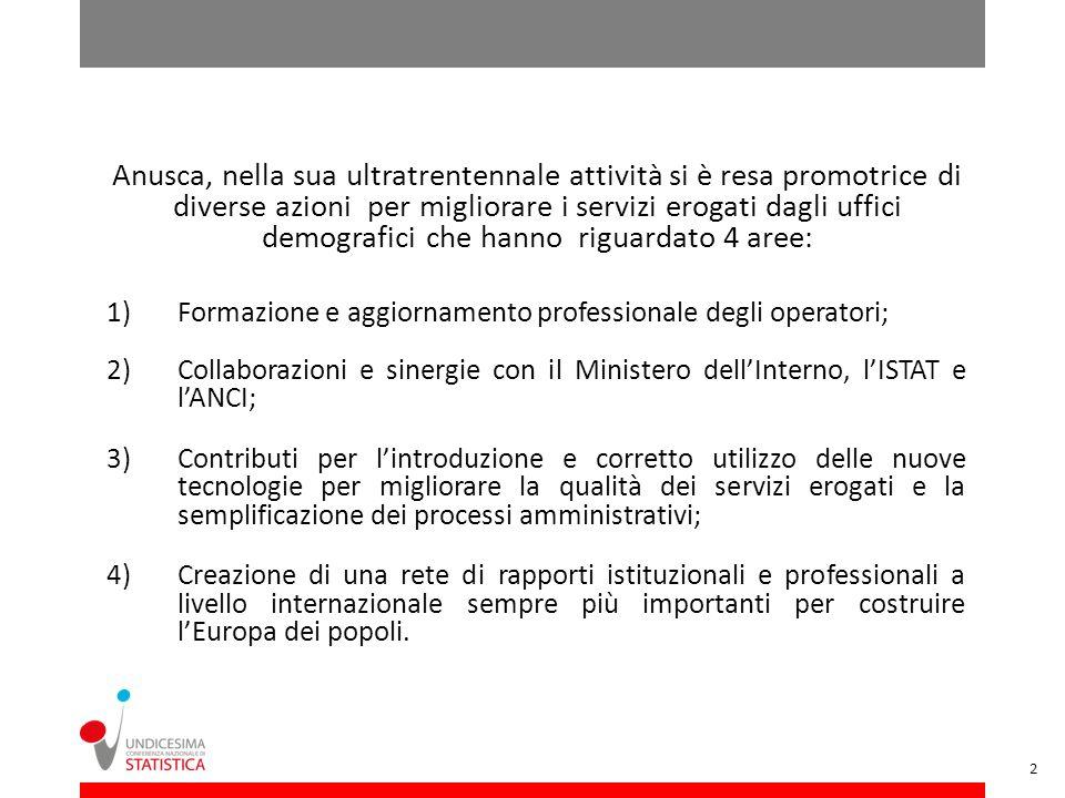 1)Formazione e aggiornamento professionale degli operatori; 2) Collaborazioni e sinergie con il Ministero dellInterno, lISTAT e lANCI; 3) Contributi p