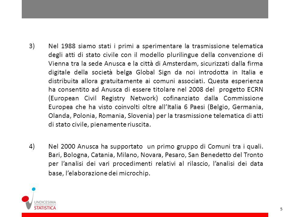 3)Nel 1988 siamo stati i primi a sperimentare la trasmissione telematica degli atti di stato civile con il modello plurilingue della convenzione di Vi