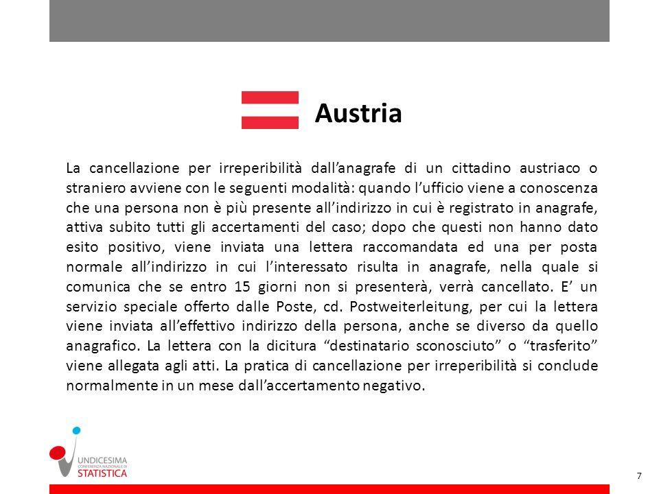 Austria La cancellazione per irreperibilità dallanagrafe di un cittadino austriaco o straniero avviene con le seguenti modalità: quando lufficio viene