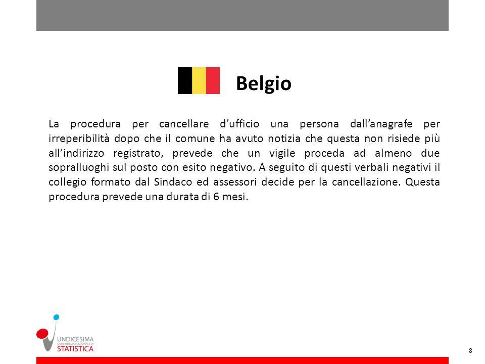 Belgio La procedura per cancellare dufficio una persona dallanagrafe per irreperibilità dopo che il comune ha avuto notizia che questa non risiede più
