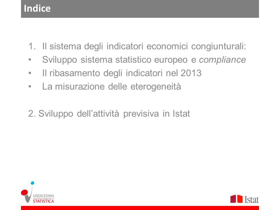Indice 1.Il sistema degli indicatori economici congiunturali: Sviluppo sistema statistico europeo e compliance Il ribasamento degli indicatori nel 2013 La misurazione delle eterogeneità 2.