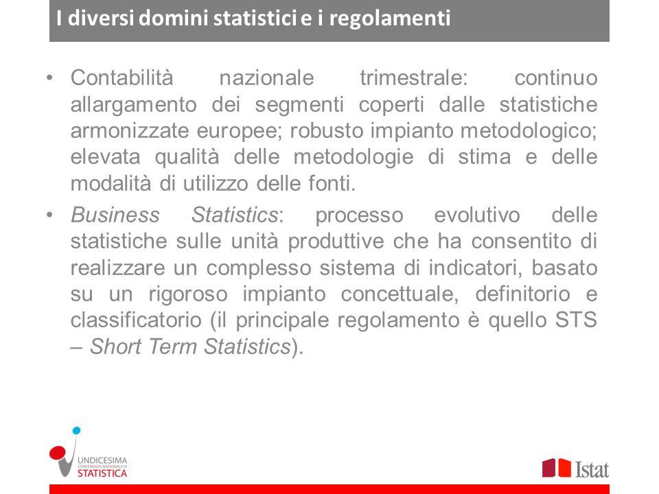 I diversi domini statistici e i regolamenti Contabilità nazionale trimestrale: continuo allargamento dei segmenti coperti dalle statistiche armonizzate europee; robusto impianto metodologico; elevata qualità delle metodologie di stima e delle modalità di utilizzo delle fonti.
