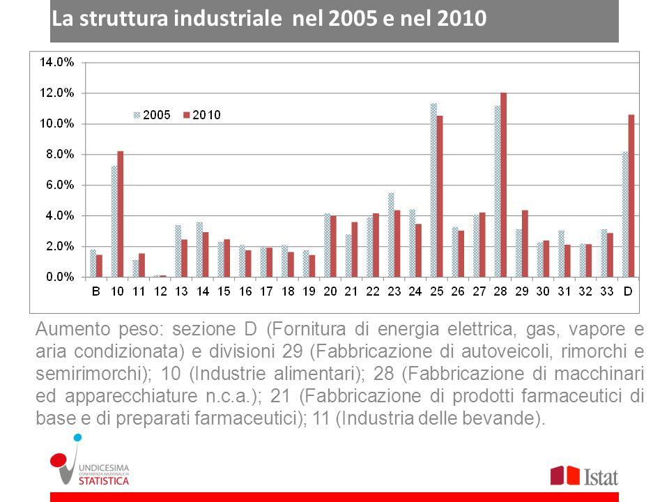 La struttura industriale nel 2005 e nel 2010 Aumento peso: sezione D (Fornitura di energia elettrica, gas, vapore e aria condizionata) e divisioni 29 (Fabbricazione di autoveicoli, rimorchi e semirimorchi); 10 (Industrie alimentari); 28 (Fabbricazione di macchinari ed apparecchiature n.c.a.); 21 (Fabbricazione di prodotti farmaceutici di base e di preparati farmaceutici); 11 (Industria delle bevande).