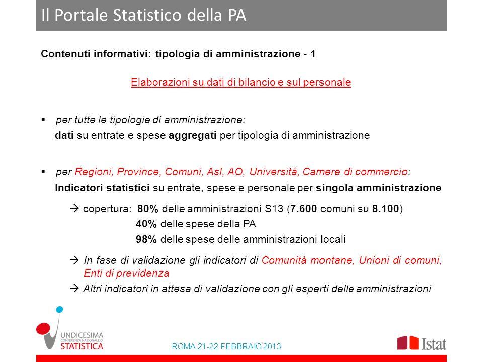 ROMA 21-22 FEBBRAIO 2013 Il Portale Statistico della PA Contenuti informativi: tipologia di amministrazione - 1 Elaborazioni su dati di bilancio e sul
