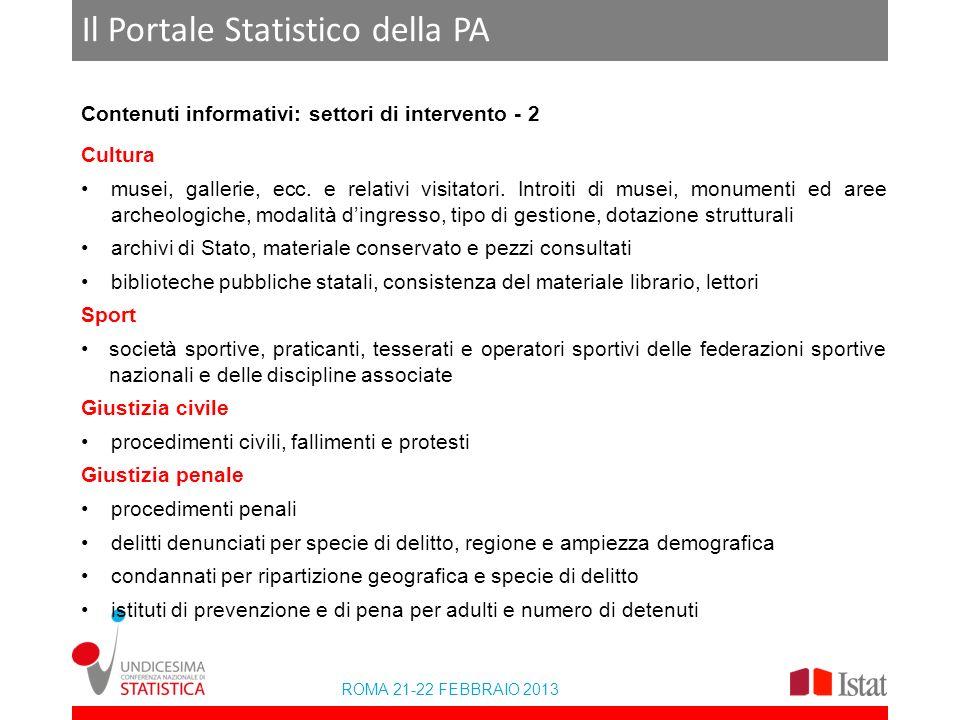 ROMA 21-22 FEBBRAIO 2013 Il Portale Statistico della PA Contenuti informativi: settori di intervento - 2 Cultura musei, gallerie, ecc. e relativi visi