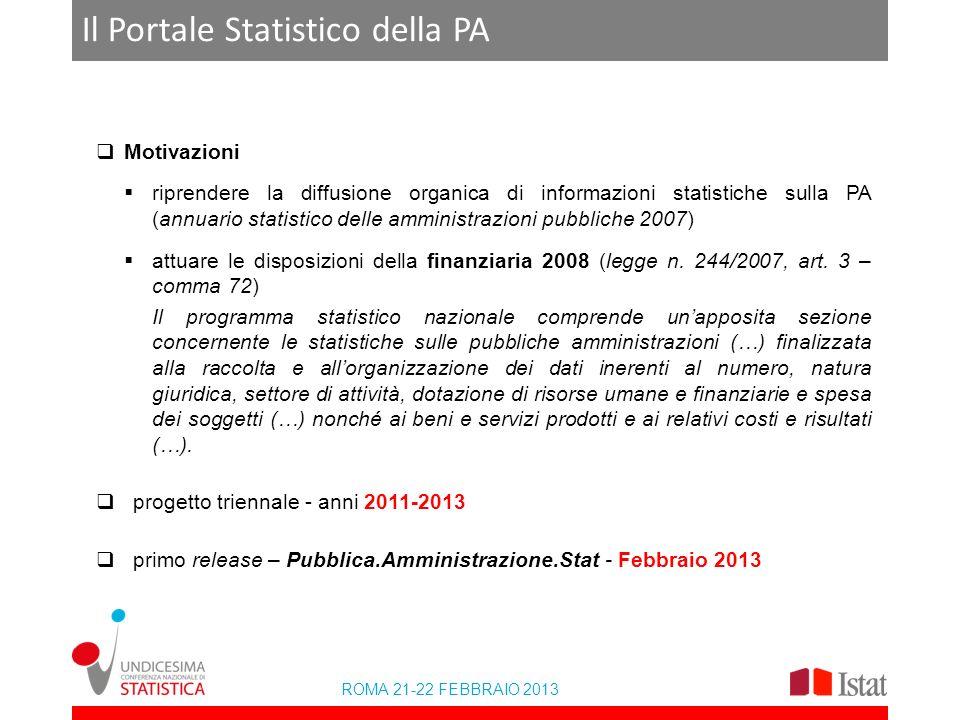 ROMA 21-22 FEBBRAIO 2013 Il Portale Statistico della PA Motivazioni riprendere la diffusione organica di informazioni statistiche sulla PA (annuario s