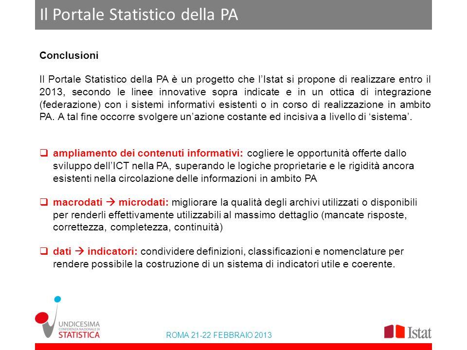 ROMA 21-22 FEBBRAIO 2013 Il Portale Statistico della PA Conclusioni Il Portale Statistico della PA è un progetto che lIstat si propone di realizzare e