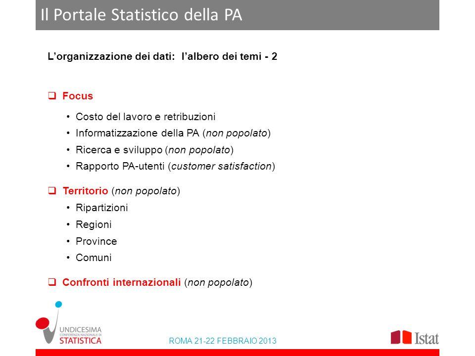 ROMA 21-22 FEBBRAIO 2013 Il Portale Statistico della PA Lorganizzazione dei dati: lalbero dei temi - 2 Focus Costo del lavoro e retribuzioni Informati