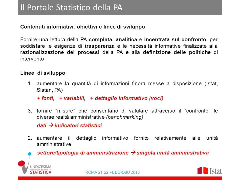 ROMA 21-22 FEBBRAIO 2013 Il Portale Statistico della PA Contenuti informativi: obiettivi e linee di sviluppo Fornire una lettura della PA completa, an