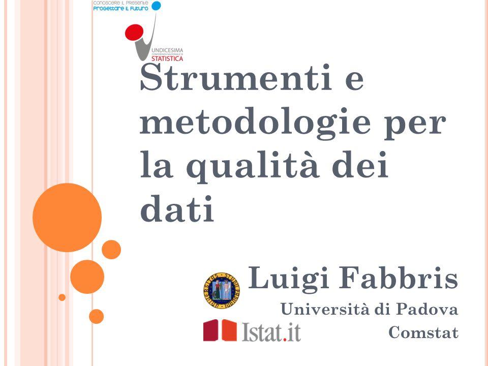Strumenti e metodologie per la qualità dei dati Luigi Fabbris Università di Padova Comstat