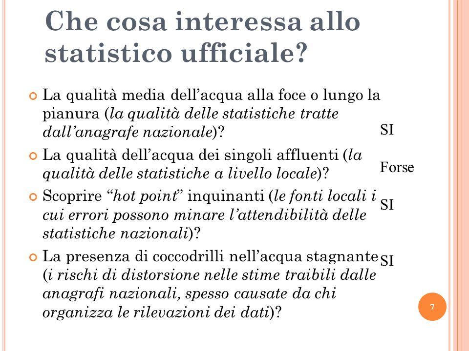7 Che cosa interessa allo statistico ufficiale.