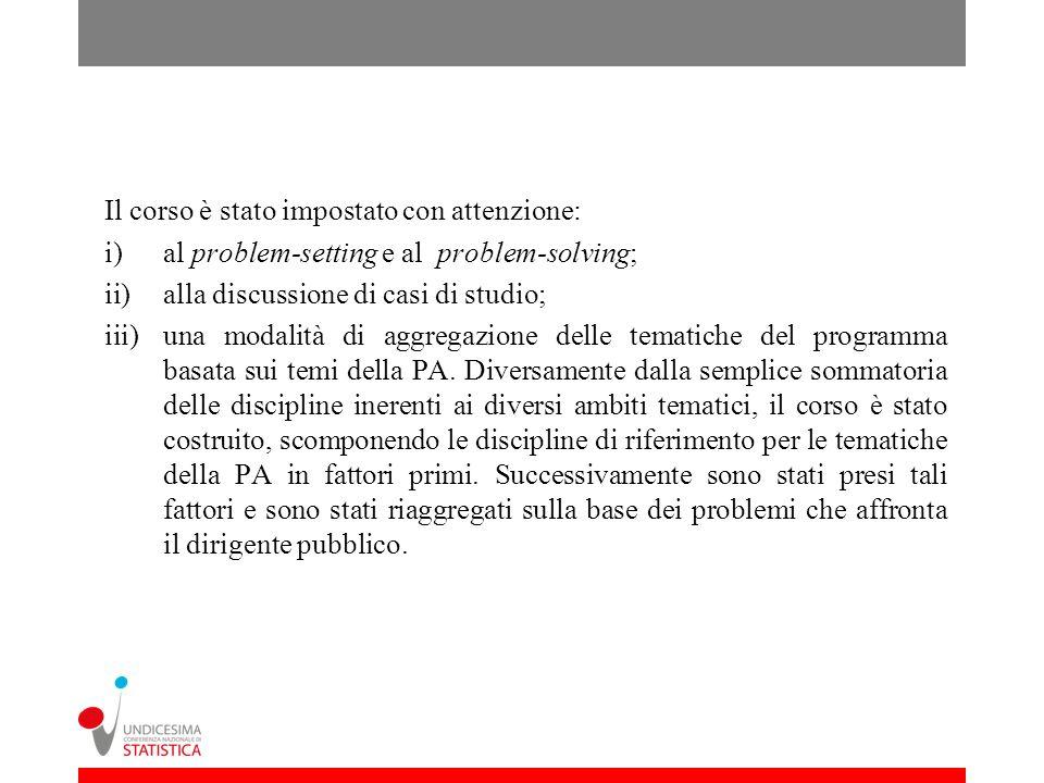Il corso è stato impostato con attenzione: i)al problem-setting e al problem-solving; ii)alla discussione di casi di studio; iii)una modalità di aggregazione delle tematiche del programma basata sui temi della PA.