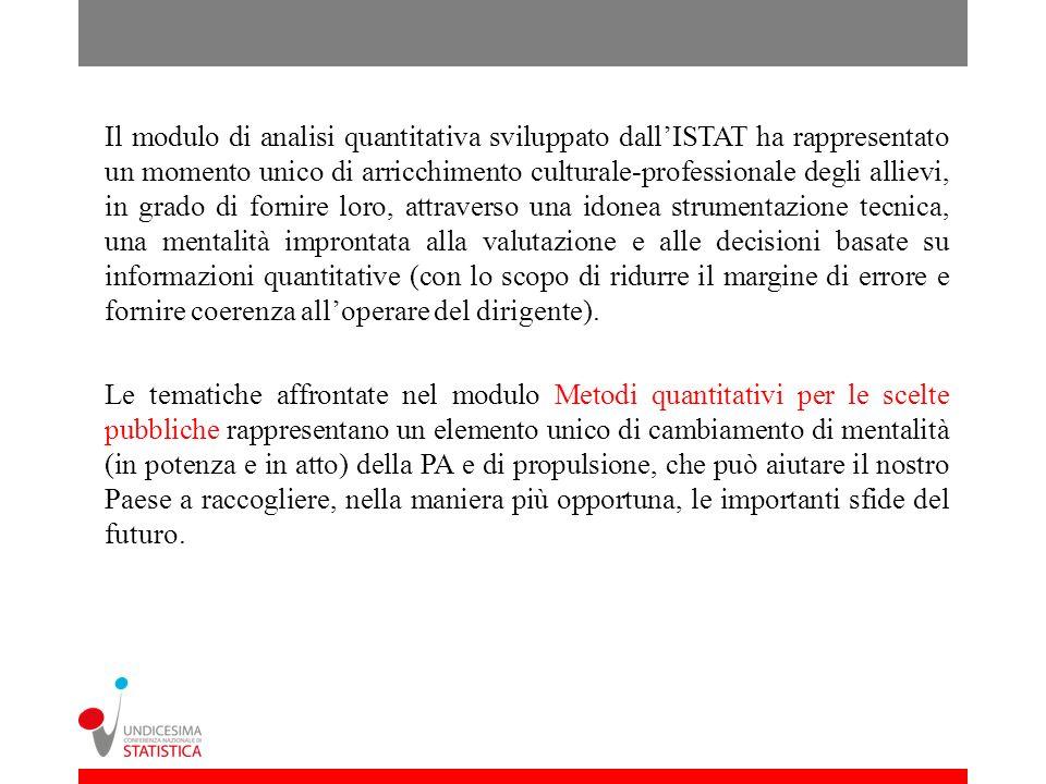Il modulo di analisi quantitativa sviluppato dallISTAT ha rappresentato un momento unico di arricchimento culturale-professionale degli allievi, in gr