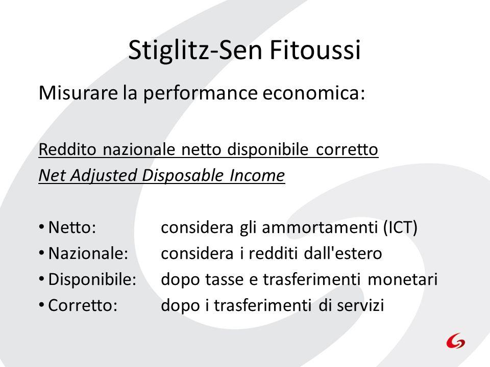 Misurare la performance economica: Reddito nazionale netto disponibile corretto Net Adjusted Disposable Income Netto: considera gli ammortamenti (ICT)