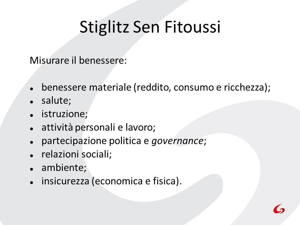 Stiglitz Sen Fitoussi Misurare il benessere: benessere materiale (reddito, consumo e ricchezza); salute; istruzione; attività personali e lavoro; part
