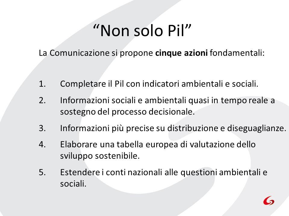 Non solo Pil La Comunicazione si propone cinque azioni fondamentali: 1.Completare il Pil con indicatori ambientali e sociali. 2.Informazioni sociali e