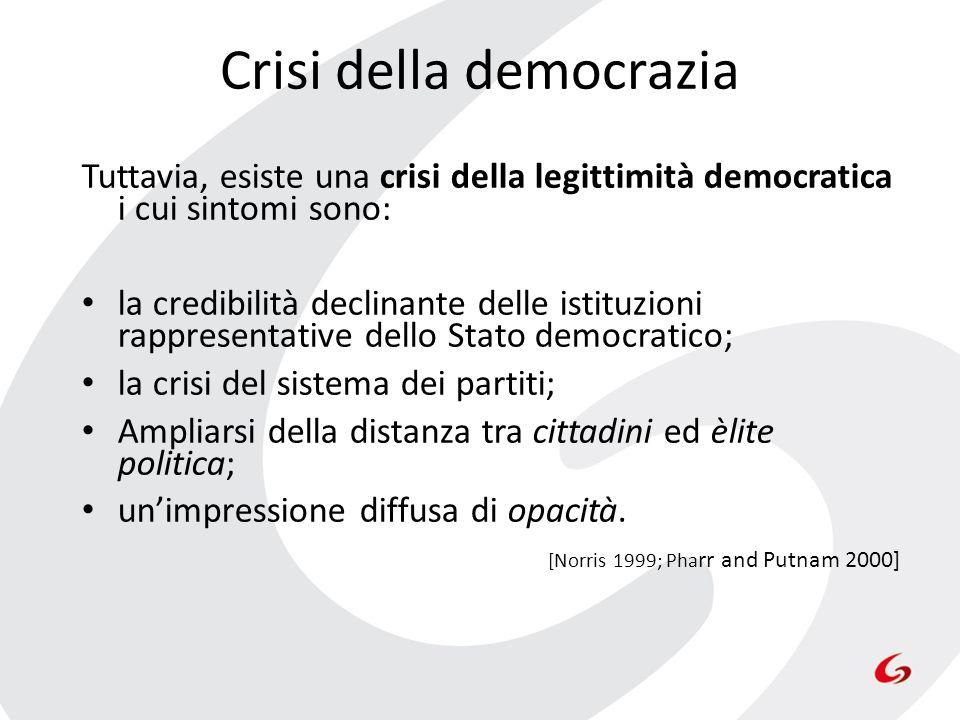 Crisi della democrazia Tuttavia, esiste una crisi della legittimità democratica i cui sintomi sono: la credibilità declinante delle istituzioni rappre