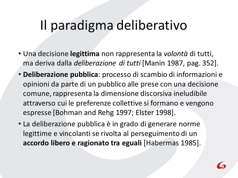 Il paradigma deliberativo Una decisione legittima non rappresenta la volontà di tutti, ma deriva dalla deliberazione di tutti [Manin 1987, pag. 352].