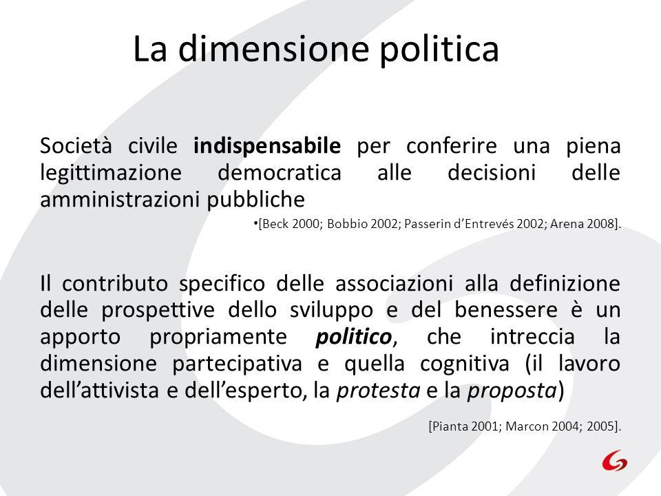 La dimensione politica Società civile indispensabile per conferire una piena legittimazione democratica alle decisioni delle amministrazioni pubbliche
