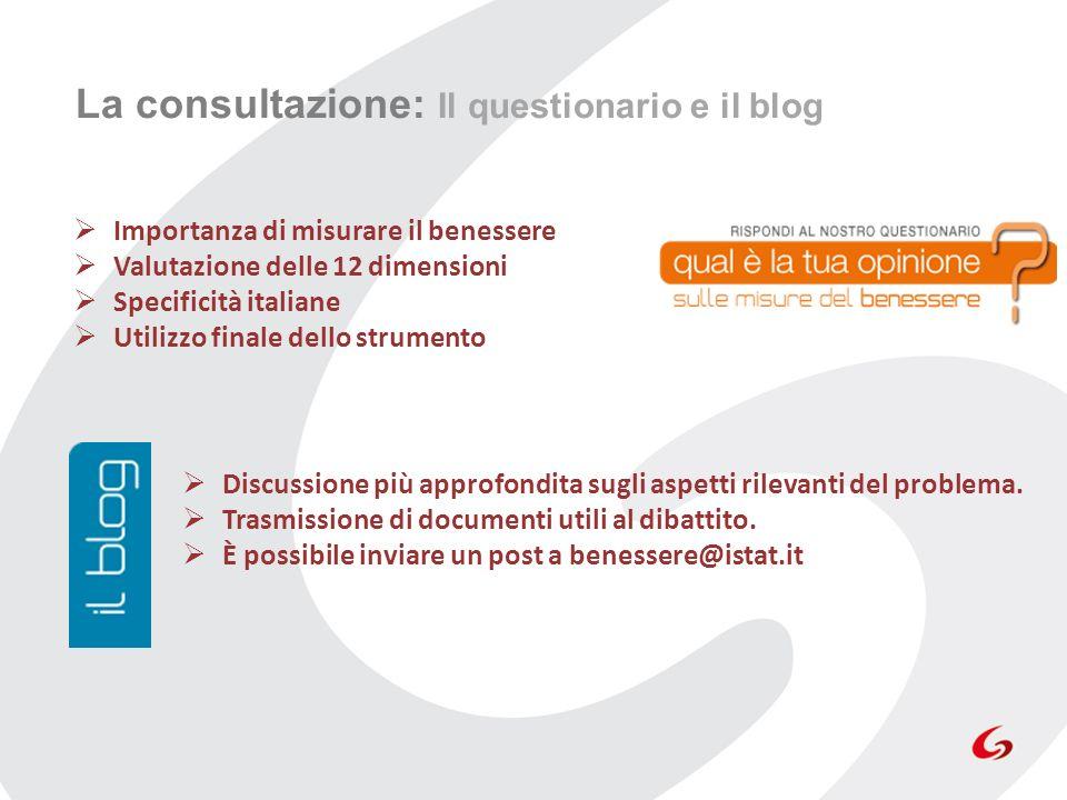 La consultazione: Il questionario e il blog Importanza di misurare il benessere Valutazione delle 12 dimensioni Specificità italiane Utilizzo finale d