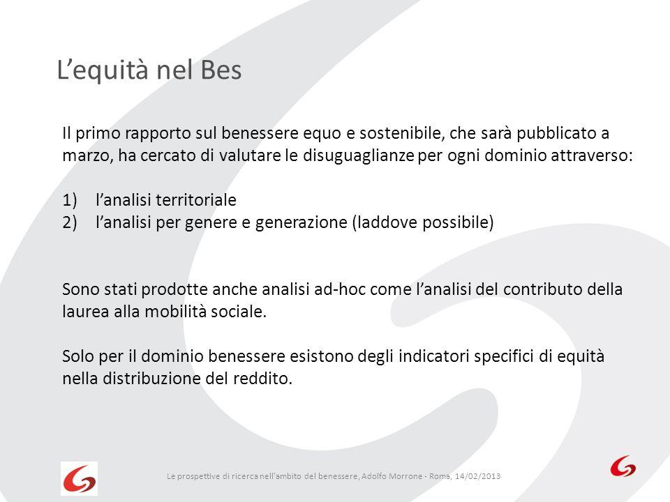 Lequità nel Bes Le prospettive di ricerca nell'ambito del benessere, Adolfo Morrone - Roma, 14/02/2013 Il primo rapporto sul benessere equo e sostenib