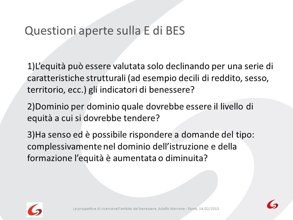 Questioni aperte sulla E di BES Le prospettive di ricerca nell'ambito del benessere, Adolfo Morrone - Roma, 14/02/2013 1)Lequità può essere valutata s