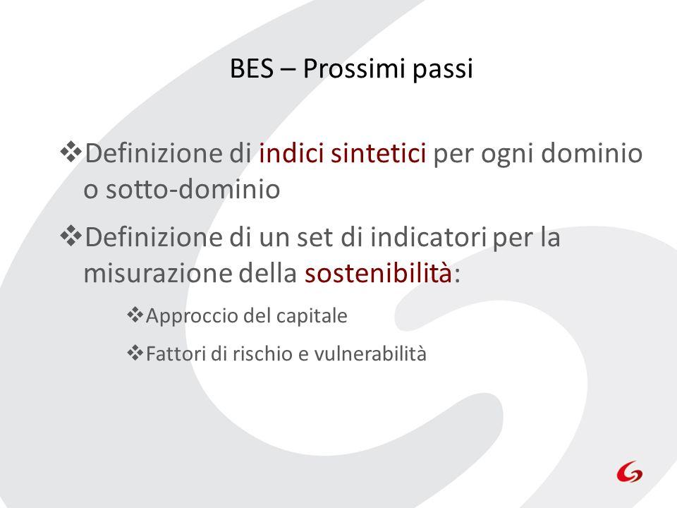 BES – Prossimi passi Definizione di indici sintetici per ogni dominio o sotto-dominio Definizione di un set di indicatori per la misurazione della sos
