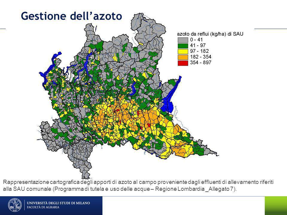 Gestione dellazoto Rappresentazione cartografica degli apporti di azoto da fertilizzanti nellipotesi di non considerare le eccedenze di nutrienti derivanti dagli effluenti di allevamento (Programma di tutela e uso delle acque – Regione Lombardia _Allegato 7).
