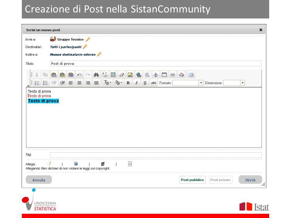 Creazione di Post nella SistanCommunity