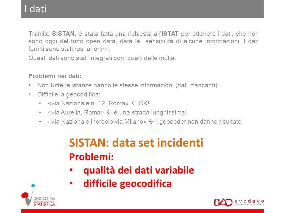 I dati Tramite SISTAN, è stata fatta una richiesta allISTAT per ottenere i dati, che non sono oggi del tutto open data, data la sensibilità di alcune