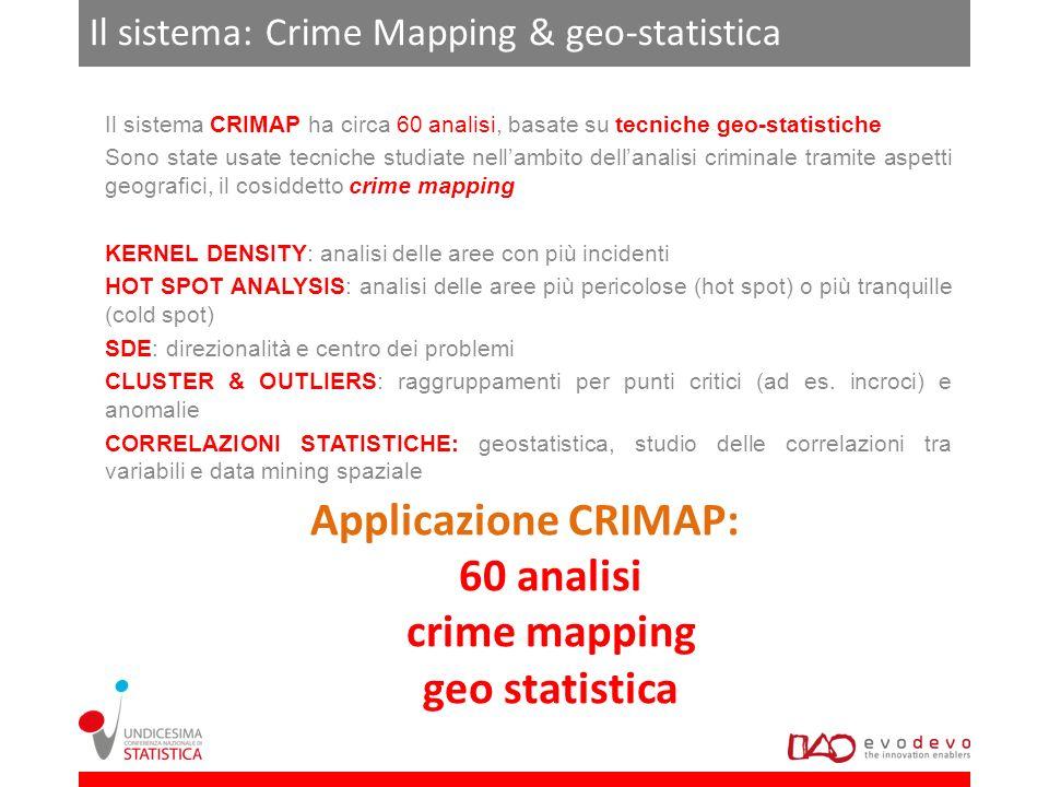 Il sistema: Crime Mapping & geo-statistica Il sistema CRIMAP ha circa 60 analisi, basate su tecniche geo-statistiche Sono state usate tecniche studiat