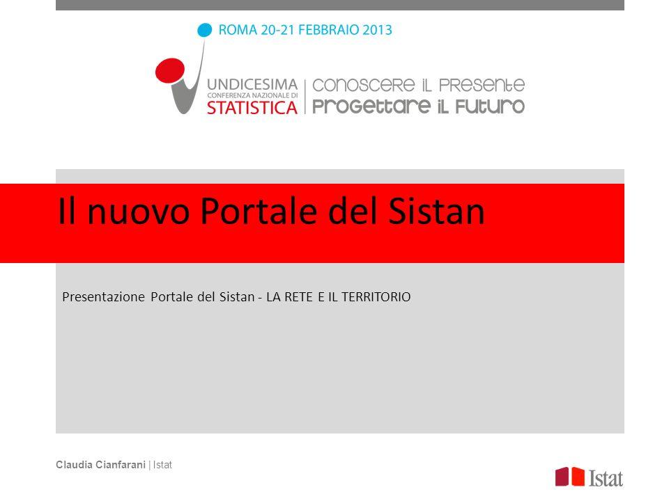 Il nuovo Portale del Sistan Presentazione Portale del Sistan - LA RETE E IL TERRITORIO Claudia Cianfarani | Istat