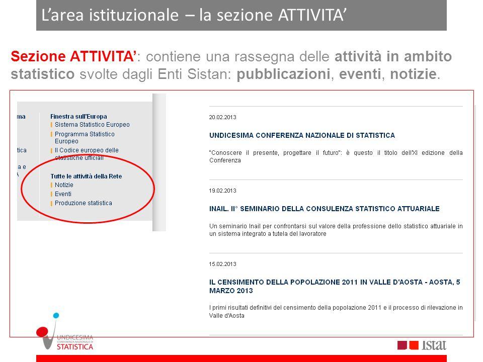 Larea istituzionale – la sezione ATTIVITA Sezione ATTIVITA: contiene una rassegna delle attività in ambito statistico svolte dagli Enti Sistan: pubbli