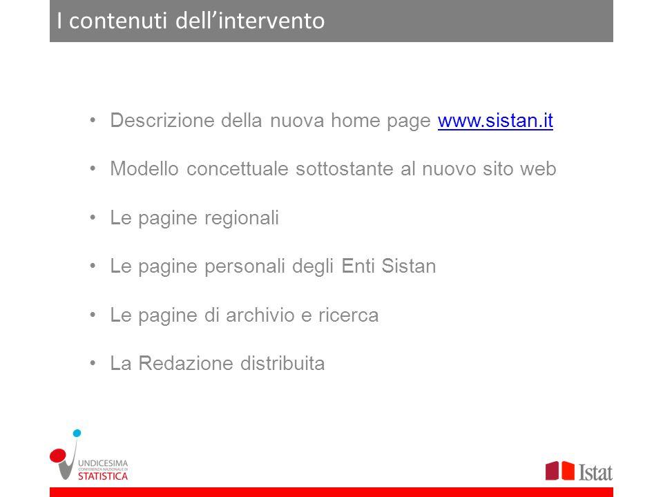 I contenuti dellintervento Descrizione della nuova home page www.sistan.itwww.sistan.it Modello concettuale sottostante al nuovo sito web Le pagine re