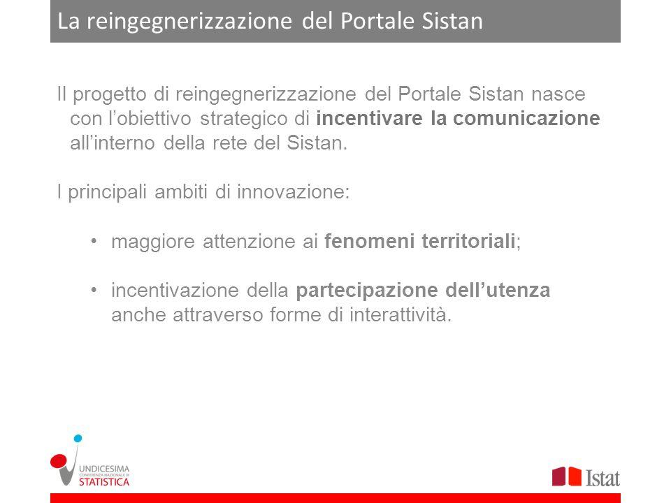 La reingegnerizzazione del Portale Sistan Il progetto di reingegnerizzazione del Portale Sistan nasce con lobiettivo strategico di incentivare la comu