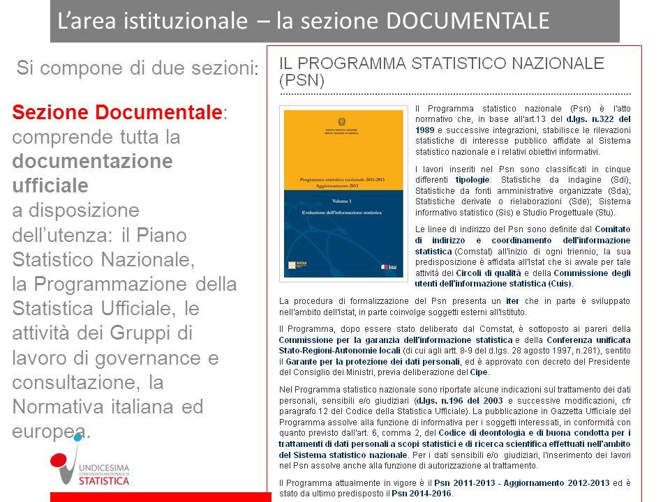 Larea istituzionale – la sezione DOCUMENTALE Si compone di due sezioni : Sezione Documentale: comprende tutta la documentazione ufficiale a disposizio
