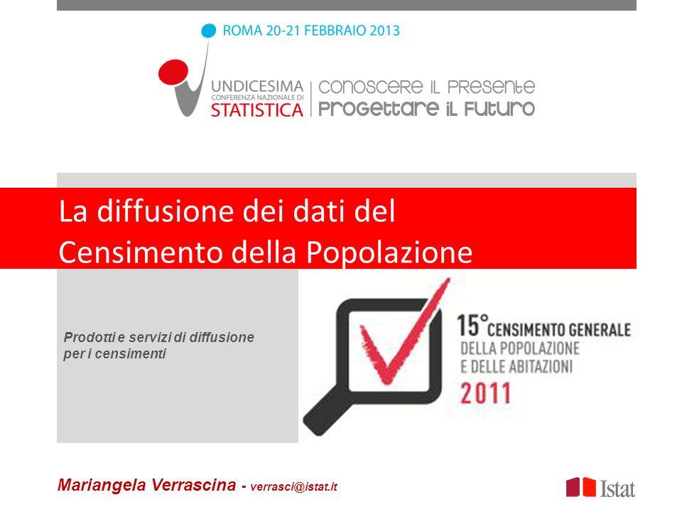 La diffusione dei dati del Censimento della Popolazione Prodotti e servizi di diffusione per i censimenti Mariangela Verrascina - verrasci@istat.it