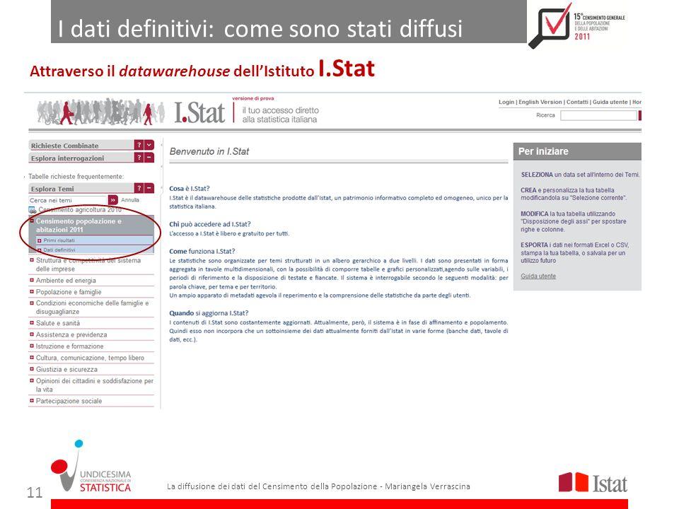 I dati definitivi: come sono stati diffusi La diffusione dei dati del Censimento della Popolazione - Mariangela Verrascina 11 Attraverso il datawarehouse dellIstituto I.Stat