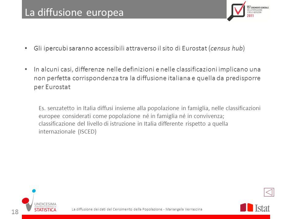 In alcuni casi, differenze nelle definizioni e nelle classificazioni implicano una non perfetta corrispondenza tra la diffusione italiana e quella da predisporre per Eurostat La diffusione europea La diffusione dei dati del Censimento della Popolazione - Mariangela Verrascina 18 Es.