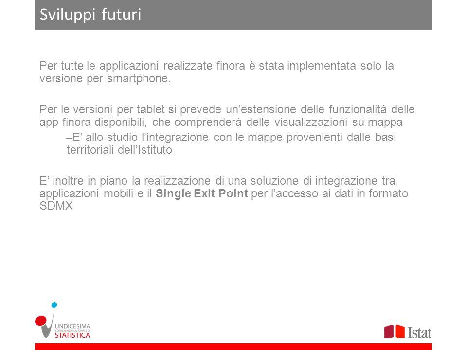 Sviluppi futuri Per tutte le applicazioni realizzate finora è stata implementata solo la versione per smartphone.