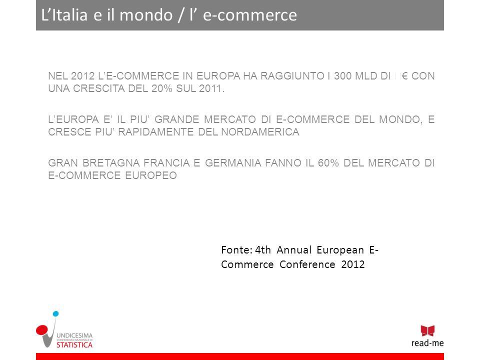 LItalia e il mondo / l e-commerce NEL 2012 LE-COMMERCE IN EUROPA HA RAGGIUNTO I 300 MLD DI CON UNA CRESCITA DEL 20% SUL 2011.
