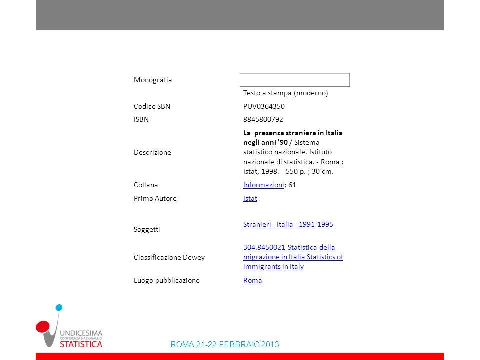 ROMA 21-22 FEBBRAIO 2013 Al salto di qualità dei dati anagrafici on line (dettaglio comunale)