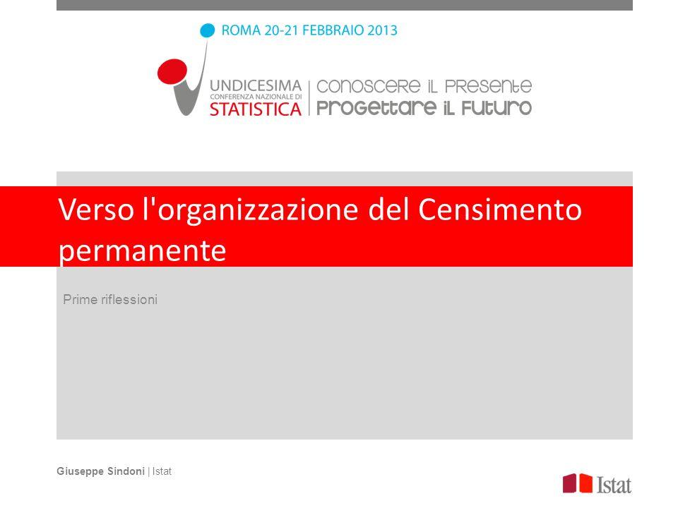 Verso l'organizzazione del Censimento permanente Prime riflessioni Giuseppe Sindoni | Istat