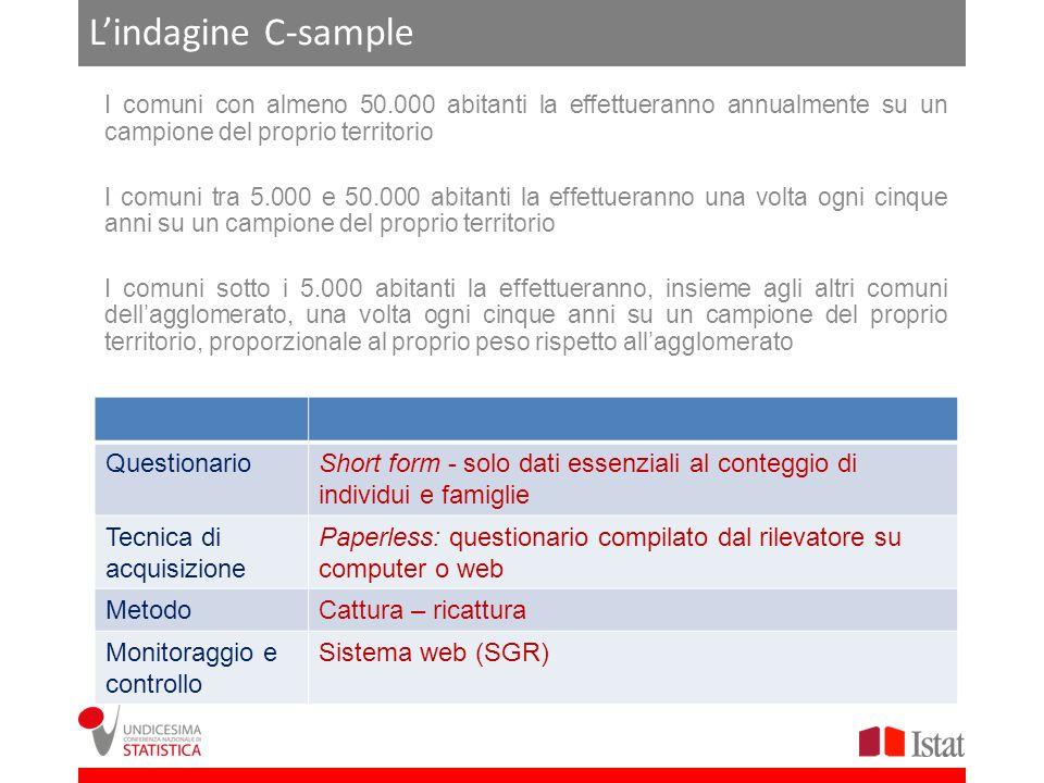 Lindagine C-sample I comuni con almeno 50.000 abitanti la effettueranno annualmente su un campione del proprio territorio I comuni tra 5.000 e 50.000